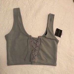 Lace-up crop top from Topshop